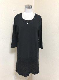 NYMPHAI襟ぐりビジュー7分袖ワンピース黒M裾ニット