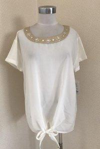 裾リボン ビジュー付き半袖シフォンブラウス白M
