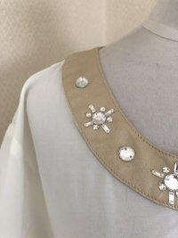 画像2: 裾リボン ビジュー付き半袖シフォンブラウス白M