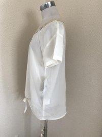画像3: 裾リボン ビジュー付き半袖シフォンブラウス白M