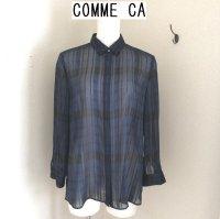 画像1: COMME CAチェック柄シアーシャツ