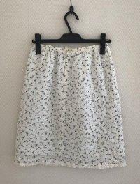 画像2: ナチュラル服 フラワープリント タイトスカート白L