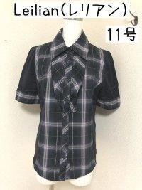 画像1: Leilian(レリアン) チェック切り替え フリル 半袖シャツ 11号
