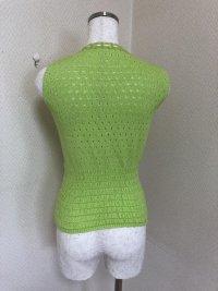 画像3: ラストシーンリボン編み込みすかし編み袖なしニット緑MN