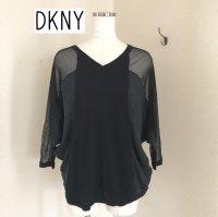 DKNY サマーニット黒P サテン切り替え