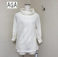 AGA ゆるいタートルネック 7分袖ニット白