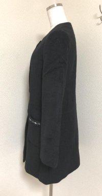 画像2: レストローズ くるみボタン ノーカラーコート黒
