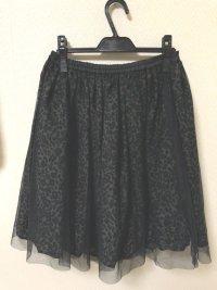 チュールレースアニマル柄ギャザースカート黒M