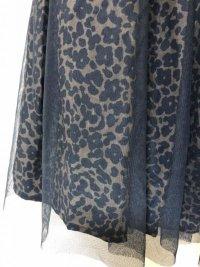 画像2: チュールレースアニマル柄ギャザースカート黒M
