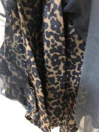 画像3: チュールレースアニマル柄ギャザースカート黒M