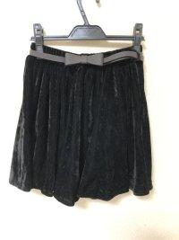 マウスバレー ウエストベルト付き ベロアミニスカート黒M