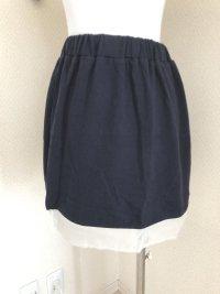 マウスバレー 裾シフォン スウェットスカート紺