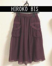 画像1: ヒロコビス デザインポケットシルクシフォンスカート