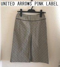 画像1: UNITED ARROWS PINK LABEL ハウンドトゥース ワンプリーツボックススカートS