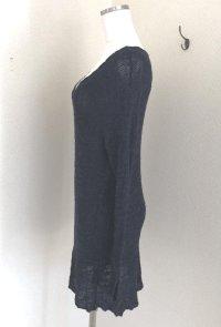 画像3: ZARA KNIT VネックサマーニットワンピースネイビーS  抜き衿