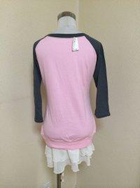 画像2: プチベリー裾フリル長袖カットソーワンピースピンク×グレー
