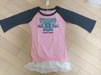 画像3: プチベリー裾フリル長袖カットソーワンピースピンク×グレー