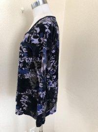 画像2: スクエアネック ベロアAライン長袖カットソー青花柄