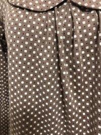画像2: GLACIER 丸襟 長袖カットソーブラウス茶総柄M