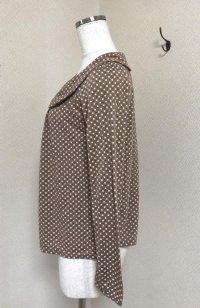 画像3: GLACIER 丸襟 長袖カットソーブラウス茶総柄M