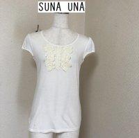 SUNAUNA 花モチーフ 半袖カットソー白38号