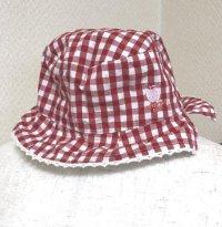 赤ちゃん用かわいい帽子赤ギンガム48女児