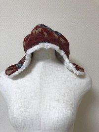 お子様用イヤーウォーマー付き帽子赤ノルディック