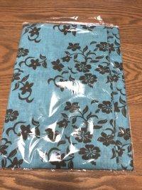 はぎれ プリント布地 花柄 ブルー×茶 150×67