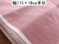 綿シャツ素材 ストライプ布地 赤×白 115×100(800)