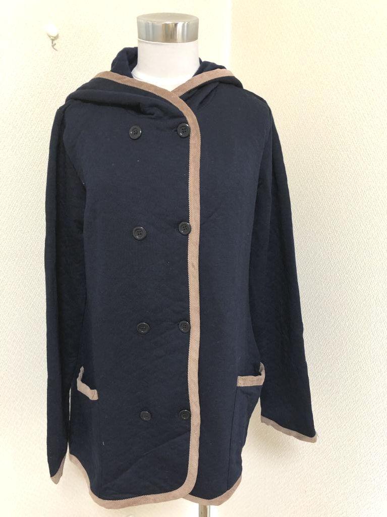画像: gracie フード付きスウェットジャケット紺M ナチュラル系